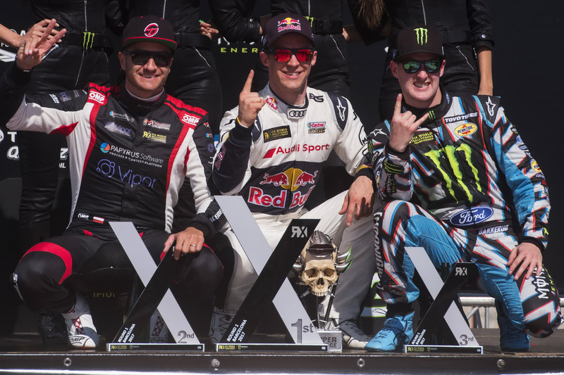 Podium: Winner Mattias Ekström, EKS, Audi S1 EKS RX Quattro, second place Timo Scheider, MJP Racing Team Austria, Ford Fiesta ST, third place Andreas Bakkerud, Hoonigan Racing Division, Ford Focus RSRX