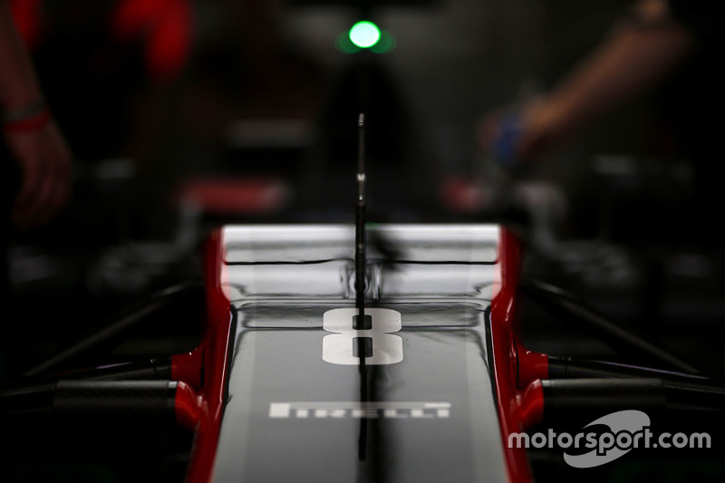 The nose of the car of Romain Grosjean, Haas F1 Team VF-17