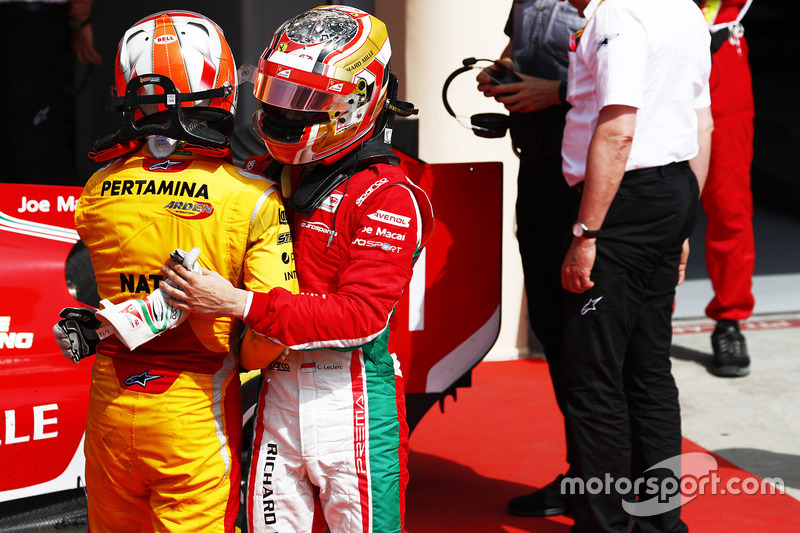 Second place Norman Nato, Pertamina Arden, third place Charles Leclerc, PREMA Racing