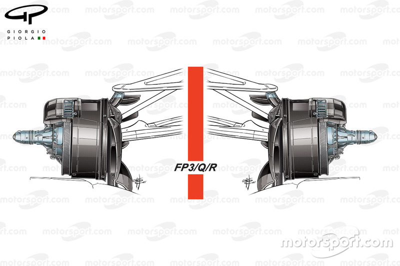 Écopes de freins de la Mercedes W08, samedi et dimanche, GP d'Azerbaïdjan
