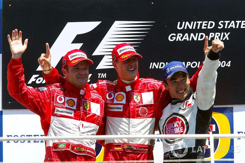 2004 : 1. Michael Schumacher, 2. Rubens Barrichello, 3. Takuma Sato