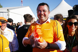 Eric Boullier, Racing Director, McLaren at the raft race