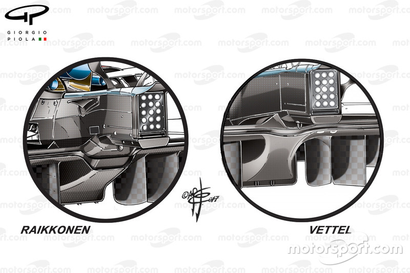 Ferrari SF70H diffusers comparison