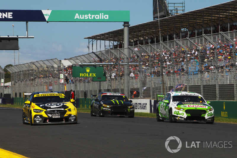 Mark Winterbottom, Tickford Racing Ford, leads Lee Holdsworth, Charlie Schwerkolt Racing Holden, Cameron Waters, Tickford Racing Ford