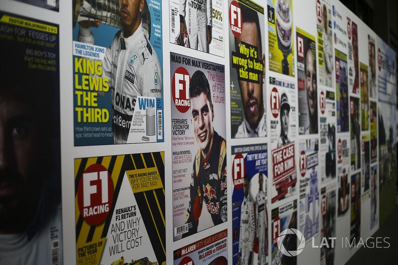 F1 Racing covers on display