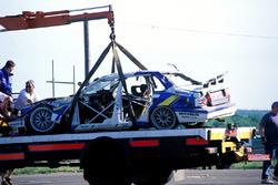 El Volvo 850 de Jamie Davies después de chocar