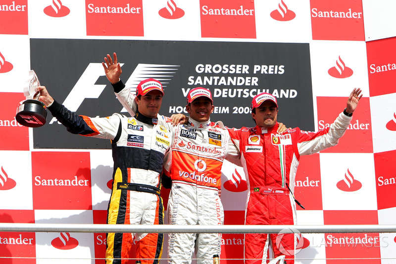 2008: 1. Lewis Hamilton, 2. Nelson Piquet, Jr., 3. Felipe Massa