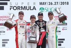 Podium: race winner Naoki Yamamoto, Team Mugen, second place Nick Cassidy, Kondo Racing, third place Kazuki Nakajima, Team Tom's