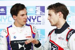 Tom Dillmann, Venturi Formula E, talks with Alex Lynn, DS Virgin Racing