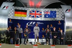 Podio: il vincitore Lewis Hamilton, Mercedes AMG F1, il secondo classificato Sebastian Vettel, Red Bull Racing, il terzo classificato Daniel Ricciardo, Red Bull Racing