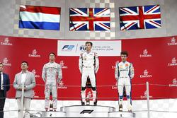 Race winner George Russell, ART Grand Prix, second place Nyck De Vries, PREMA Racing, third place Lando Norris, Carlin