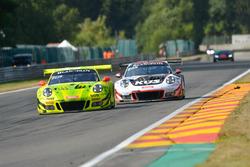 #911 Manthey Racing Porsche 911 GT3 R: Romain Dumas, Frederic Makowiecki, Dirk Werner, #117 KÜS Team75 Bernhard Porsche 911 GT3 R: Timo Bernhard, Earl Bamber, Laurens Vanthoor