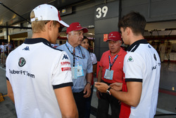 Marcus Ericsson, Sauber and Charles Leclerc, Sauber with Oscar Fangio, and Ruben Fangio,