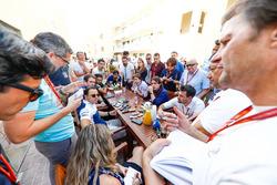 Felipe Massa, Williams, talks to the press