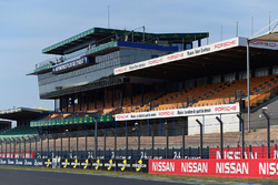 The Le Mans start/finish straight and grandstands