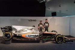 (L to R): Sergio Perez, Sahara Force India F1 and team mate Esteban Ocon, Sahara Force India F1 Team,the Sahara Force India F1 VJM10
