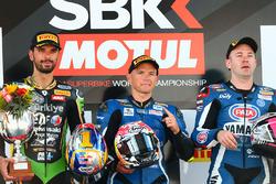 1. Sheridan Morais, Kallio Racing Yamaha, 2. Kenan Sofuoglu, Kawasaki Puccetti Racing, 3. Lucas Mahias, GRT Yamaha Official WorldSSP Team
