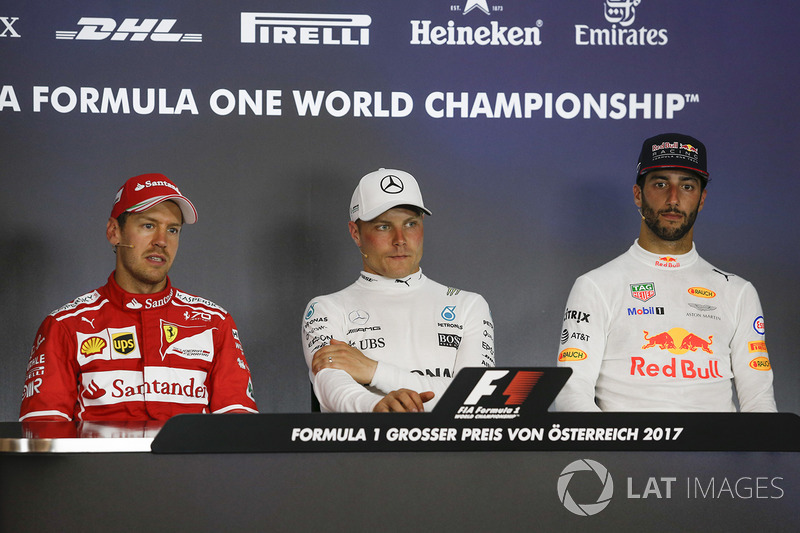 Press conference: second place Sebastian Vettel, Ferrari, race winner Valtteri Bottas, Mercedes AMG