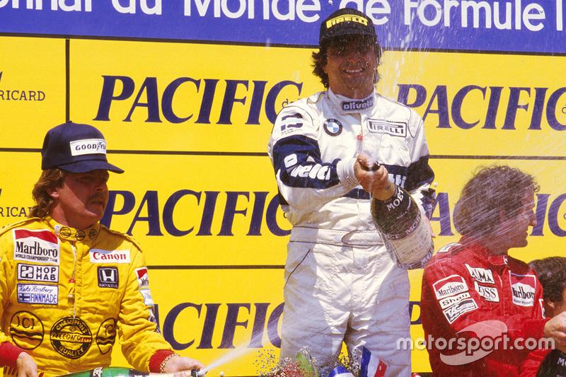 Podium : le vainqueur Nelson Piquet, Brabham BMW, le second Keke Rosberg, Williams Honda, le troisième Alain Prost, McLaren TAG Porsche
