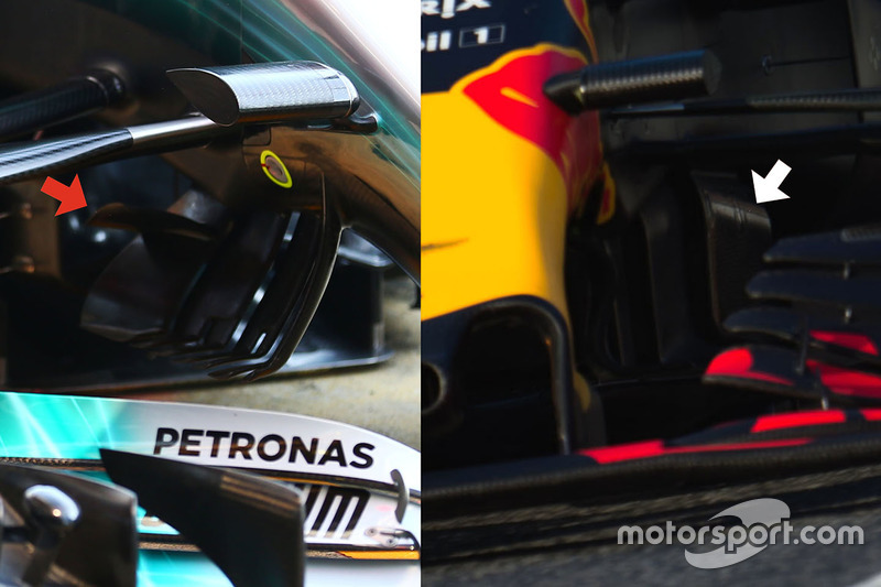 Red Bull Racing RB13 and Mercedes AMG F1 W08 detail comparison
