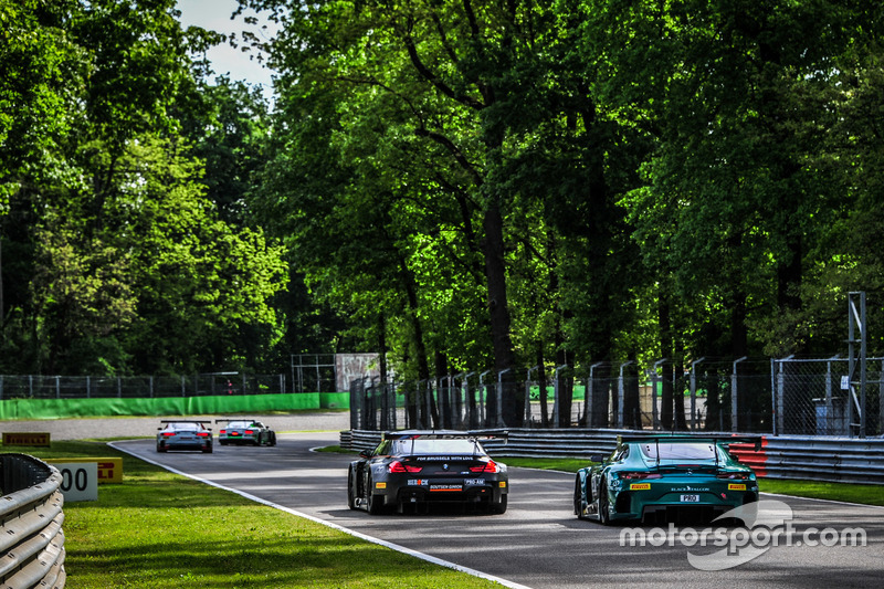 #57 AMG-Team Black Falcon, Mercedes-AMG GT3: Hubert Haupt, Adam Christodoulou, Andreas Simonsen; #12 Boutsen Ginion Racing, BMW M6 GT3: Olivier Grotz, Karim Ojjeh, Julian Darras