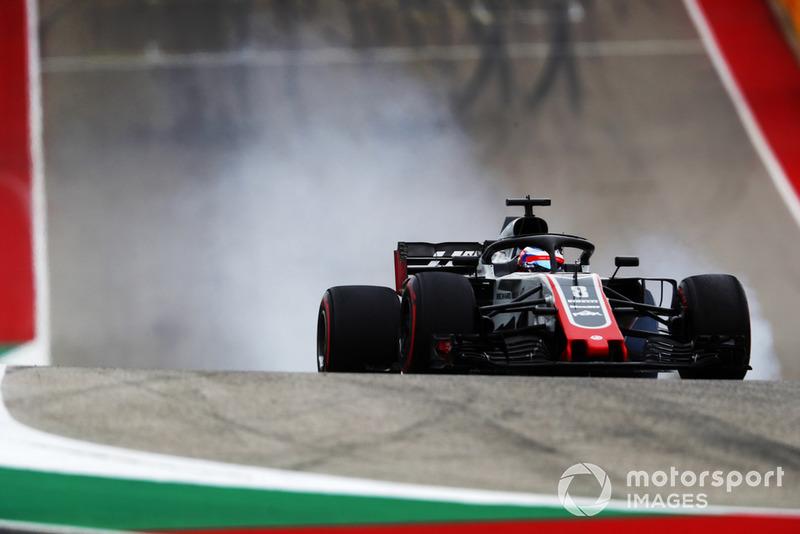 Romain Grosjean, Haas F1 Team VF-18, bloquea los frenos