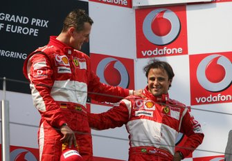 Podium: race winner Michael Schumacher, Ferrari, third place Felipe Massa, Ferrari
