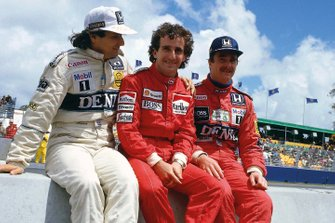 Nelson Piquet, Williams; Alain Prost, McLaren; Nigel Mansell, Williams