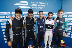 Esteban Gutiérrez, Techeetah, Jean-Eric Vergne, Techeetah, Sébastien Buemi, Renault e.Dams, José María López, DS Virgin Racing, y Oliver Turvey, NEXTEV TCR Formula E Team