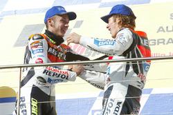 1. Valentino Rossi, Repsol Honda Team; 3. Nicky Hayden, Repsol Honda Team