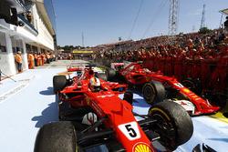 Sebastian Vettel, Ferrari SF70H, Kimi Raikkonen, Ferrari SF70H, stop in parc ferme after finishing one-two
