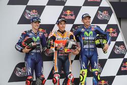 Polesitter Marc Marquez, Repsol Honda Team; 2. Maverick Viñales, Yamaha Factory Racing; 3. Valentino Rossi, Yamaha Factory Racing