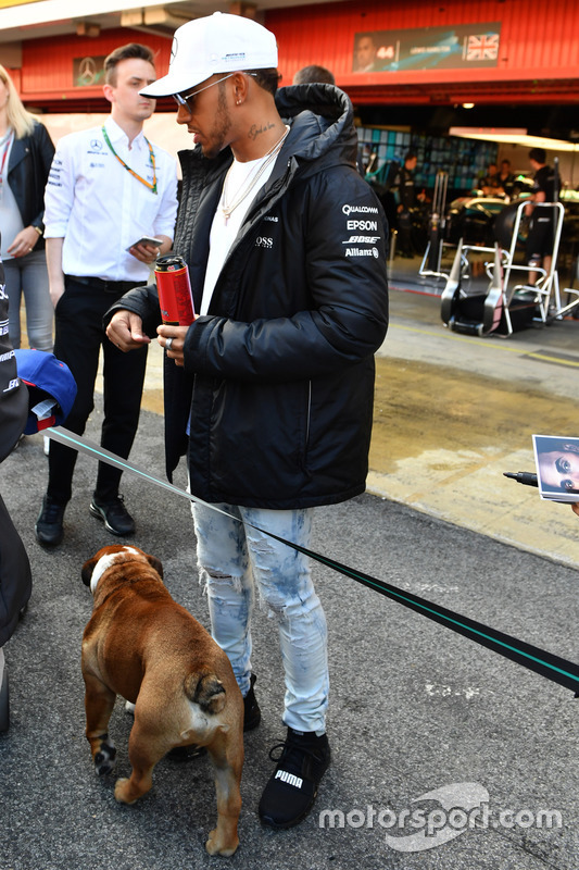 Lewis Hamilton, Mercedes AMG F1 swith his dog Roscoe