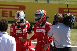 Pole sitter Sebastian Vettel, Ferrari and Kimi Raikkonen, Ferrari