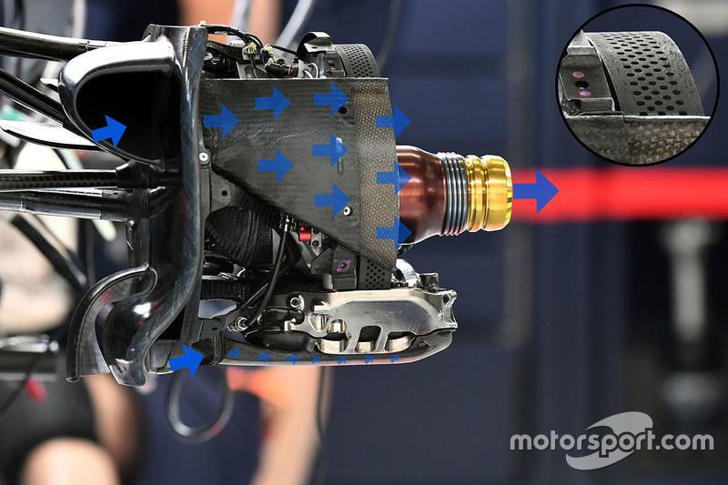 红牛RB13赛车前轮吹气轴细节图