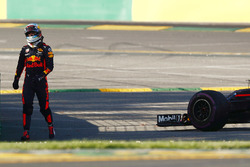 Daniel Ricciardo, Red Bull Racing RB13, walks away from his car after stopping on track