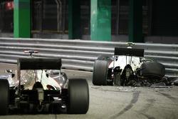 The crashed car of Kamui Kobayashi, Sauber
