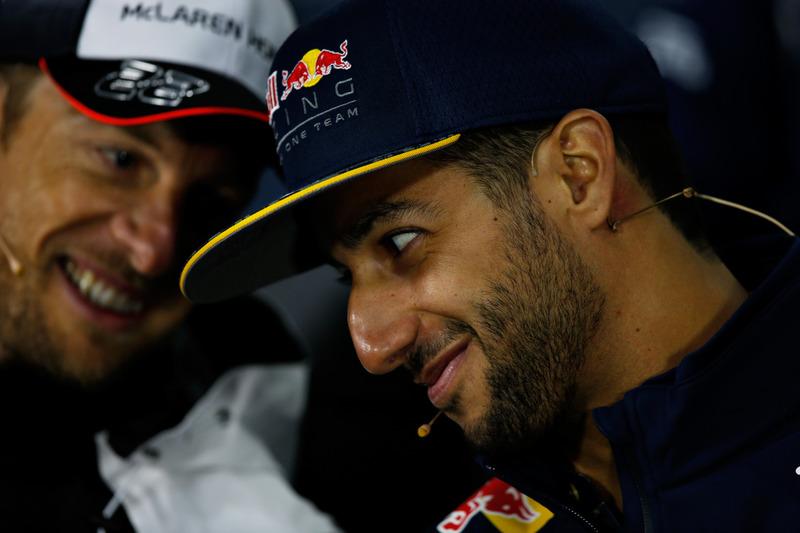 Daniel Ricciardo, Red Bull Racing and Jenson Button, McLaren talk in the Drivers Press Conference