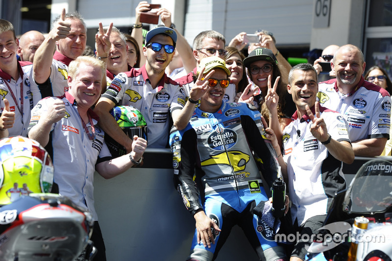 Franco Morbidelli, EG 0,0 Marc VDS, Kalex celebrate in parc ferme