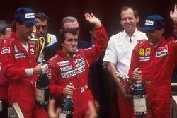 Podium: winner Alain Prost, McLaren Honda, second place Gerhard Berger,Ferrari, third place Michele Alboreto, Ferrari
