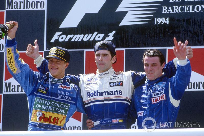 1994: 1. Damon Hill, Williams 2. Michael Schumacher, Benetton 3. Mark Blundell, Tyrrell