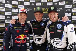 Podium: Race winner Johan Kristoffersson, PSRX Volkswagen Sweden, second place Sébastien Loeb, Team Peugeot Total,-third place Petter Solberg, PSRX Volkswagen Sweden