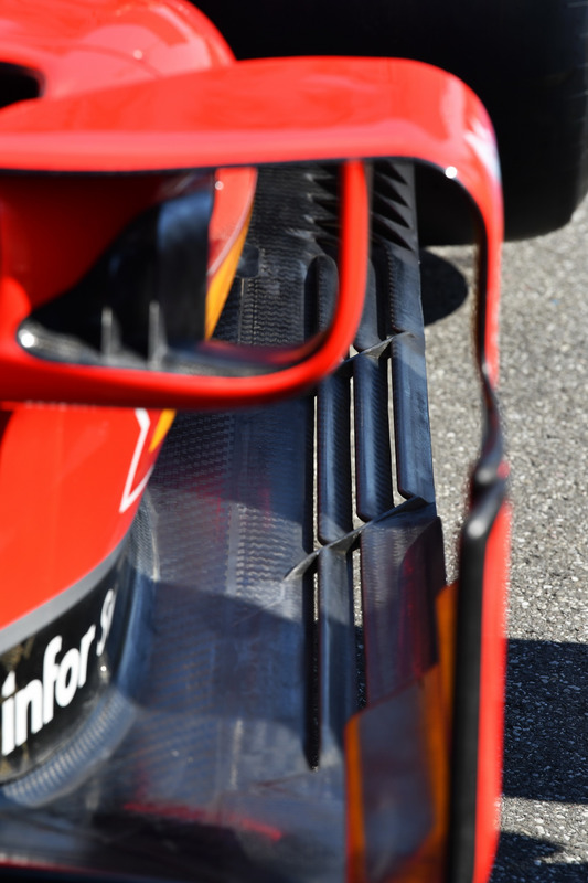 Detalle del bargeboard del Ferrari SF71H