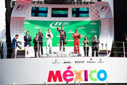 Podium: race winner Max Verstappen, Red Bull Racing, second place Valtteri Bottas, Mercedes AMG F1, third place Kimi Raikkonen, Ferrari