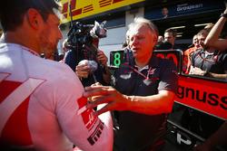 Romain Grosjean, Haas F1 Team, Gene Haas, Team Owner, Haas F1, and the Haas F1 team celebrate the team's best finish yet