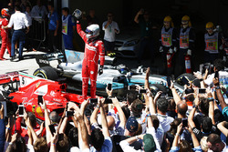 Sebastian Vettel, Ferrari SF70H, celebrates after winning the race