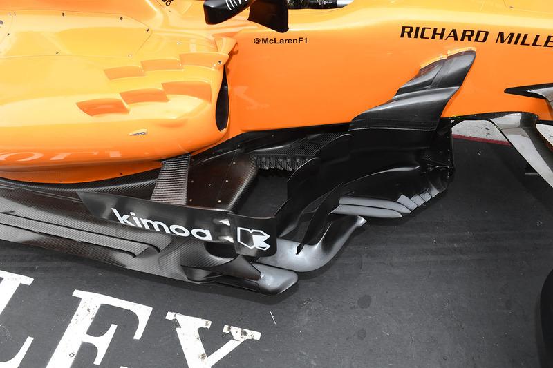 Vue détaillée des déflecteurs de la McLaren MCL33