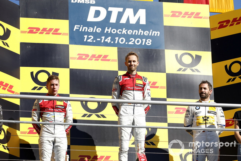 Podio: ganador de la carrera René Rast, Audi Sport Team Rosberg, segundo Robin Frijns, Audi Sport Team Abt Sportsline, tercero Timo Glock, BMW Team RMG