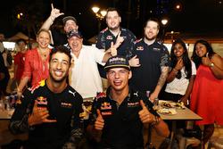 Daniel Ricciardo Red Bull Racing and Max Verstappen Red Bull Racing at Newton Food Centre