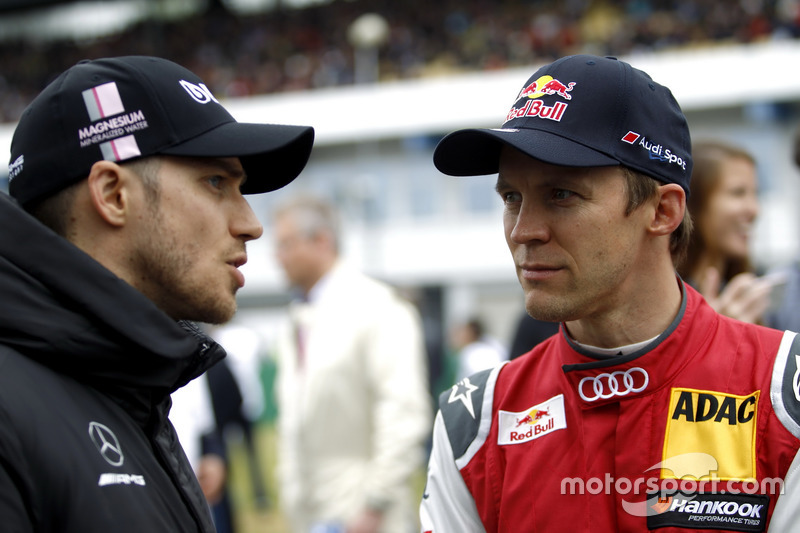 Edoardo Mortara, Mercedes-AMG Team HWA, Mercedes-AMG C63 DTM, Mattias Ekström, Audi Sport Team Abt Sportsline, Audi A5 DTM